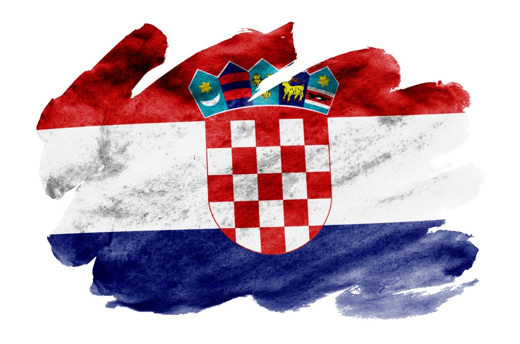 croatia flag is depicted in liquid watercolor style isolated on white background