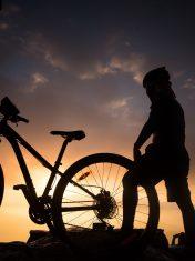 Mountain biking at sunrise